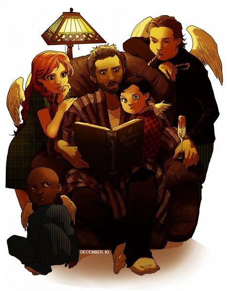 Anna, Uriel, Chuck, Castiel and Gabriel - Chuck is sure a good daddy