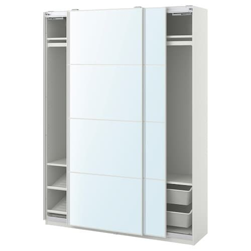Pax Mehamn Auli Wardrobe Combination White Mirror Glass 200x66x201 Cm Ikea In 2020 Ikea Pax Glass Mirror Ikea