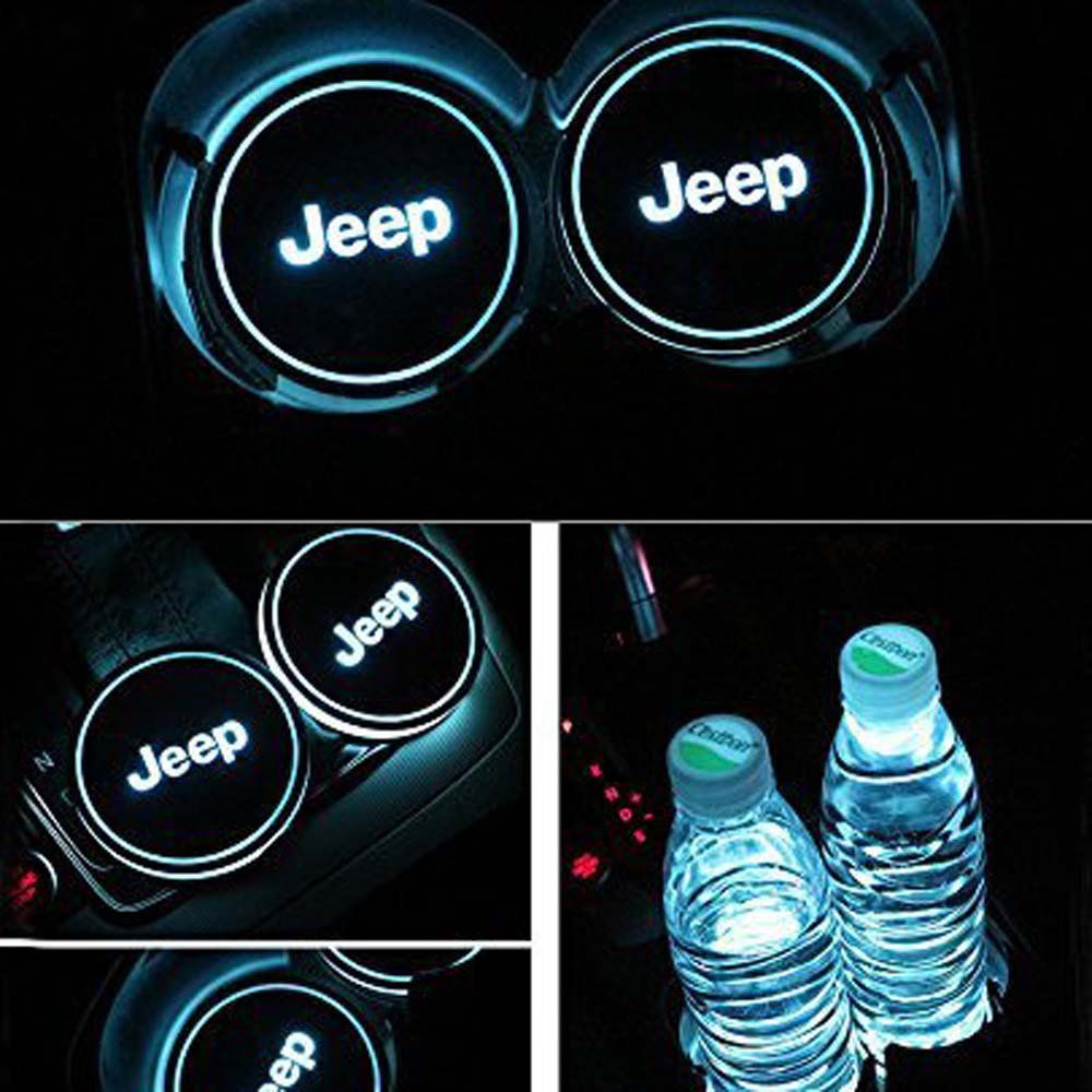 2PCS LED Car Cup Holder Pad Mats Car Auto Atmosphere Lights Colorful For Jeep