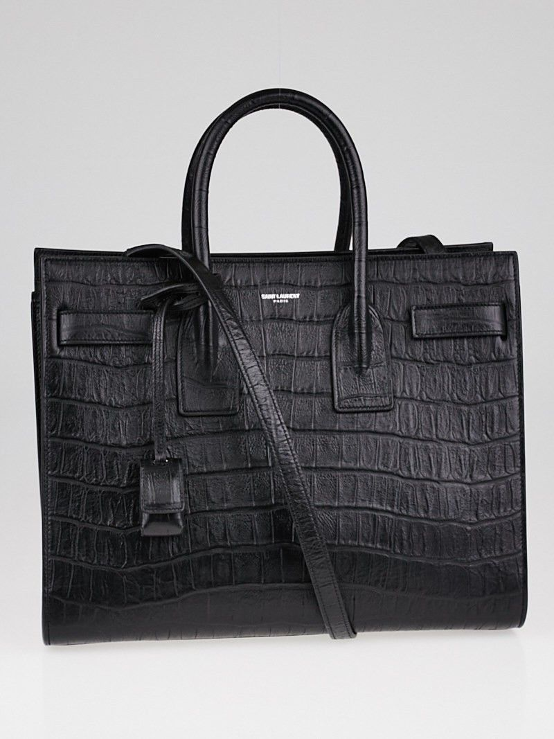 57670792216e Yves Saint Laurent Black Crocodile Embossed Calfskin Leather Small Sac de  Jour Bag - Yoogi s Closet
