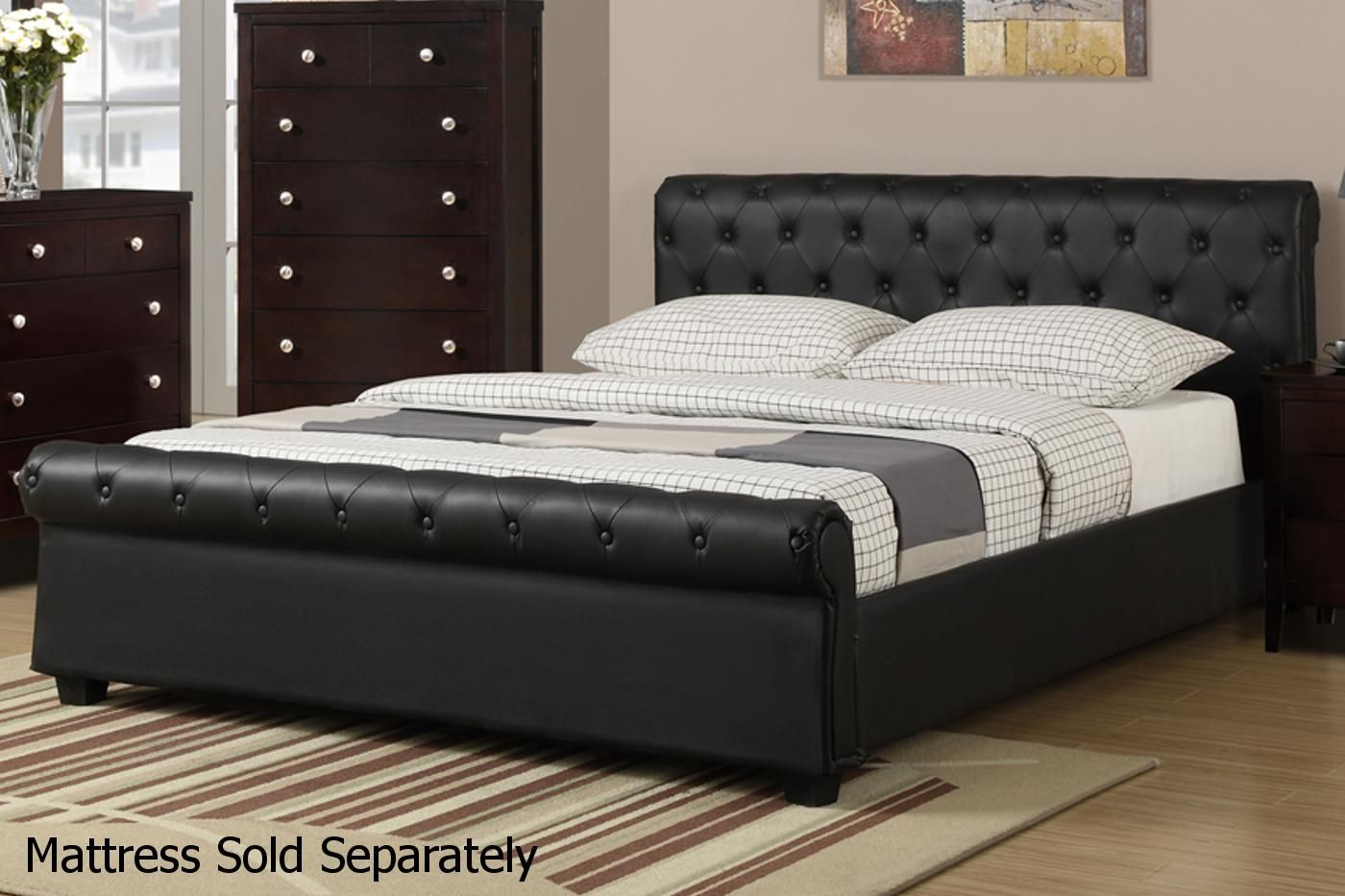 Leather Queen Bed Upholstered platform bed, Leather