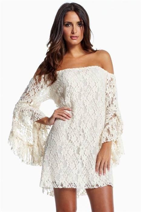 Vestido floral de encaje palabra de honor Color  Blanco 22d2444ad791
