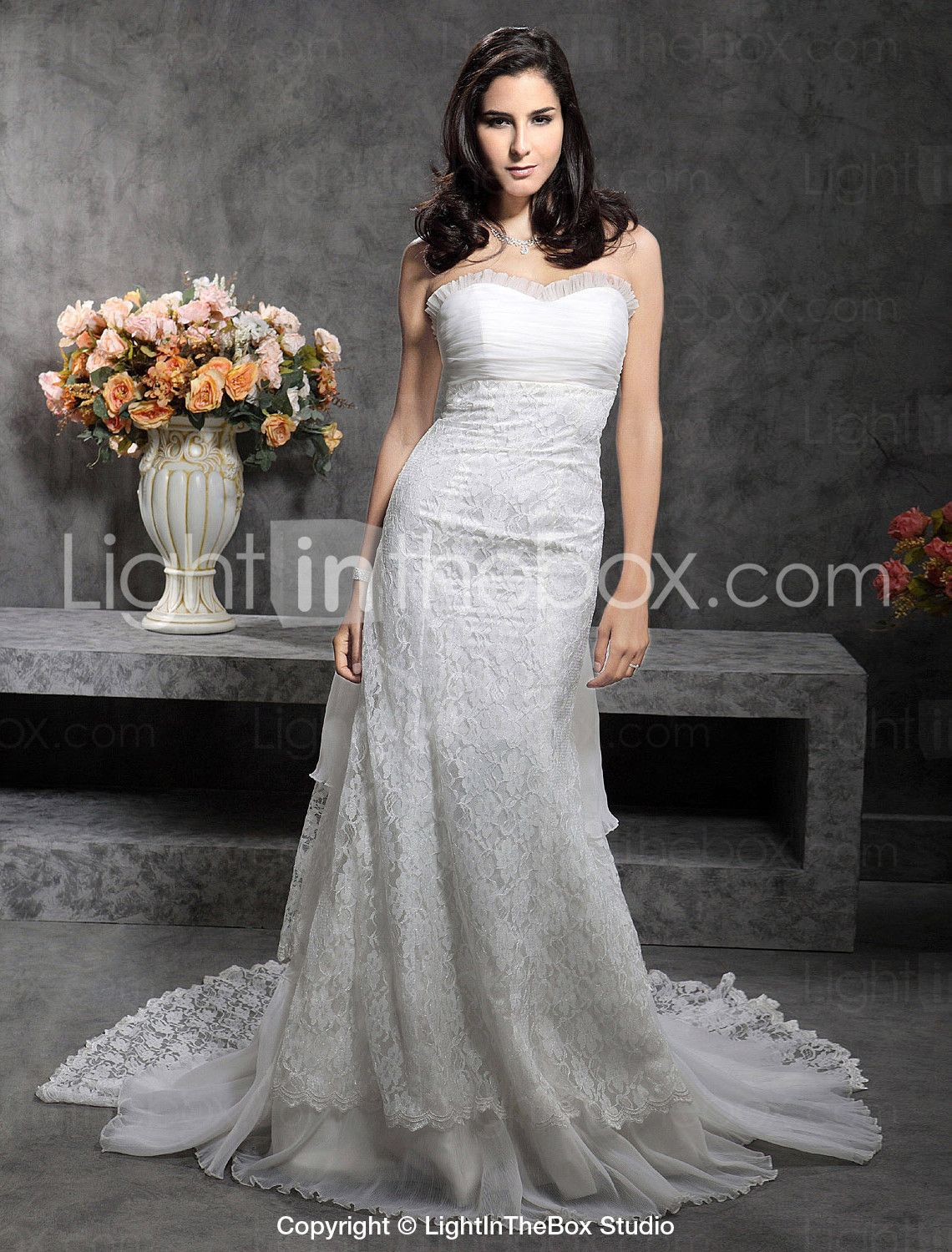 Wedding dresses with train  Katherine McPhee Aline Sweetheart Royal Length Train LaceOrganza