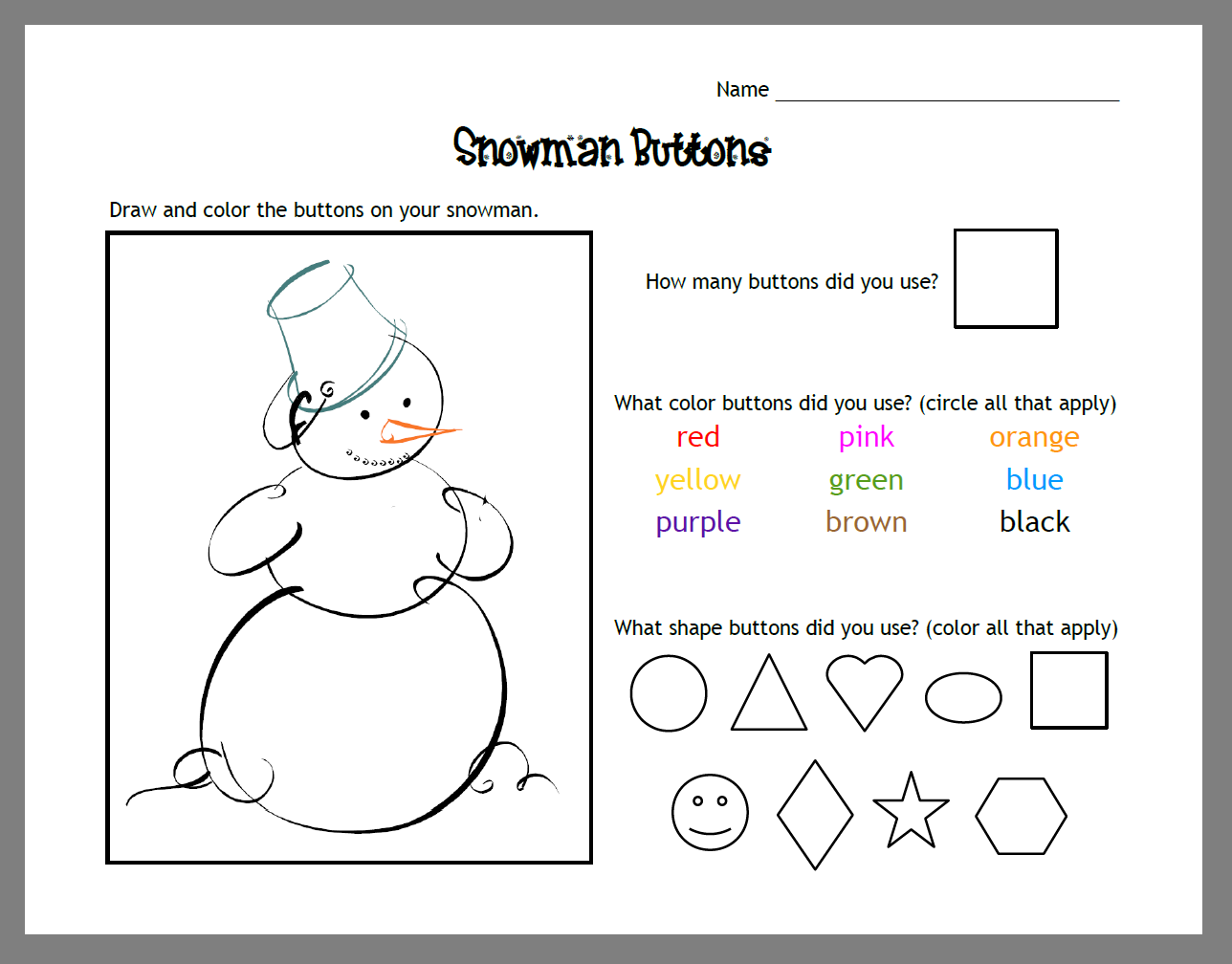Snowman Math Activity Mat