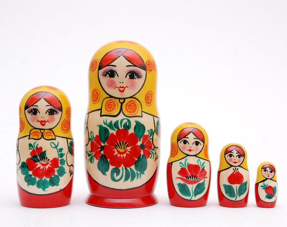 5 piece Russian doll Stacking matryoshka doll by artmatryoshka