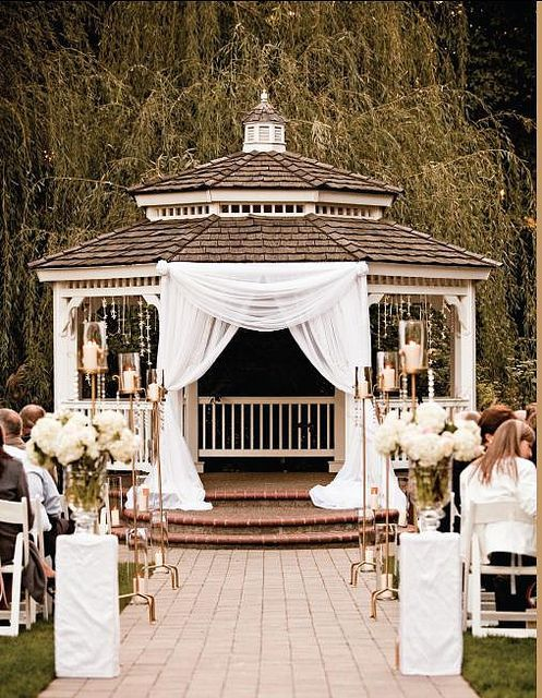 cute ceremony draped arch | kiosco