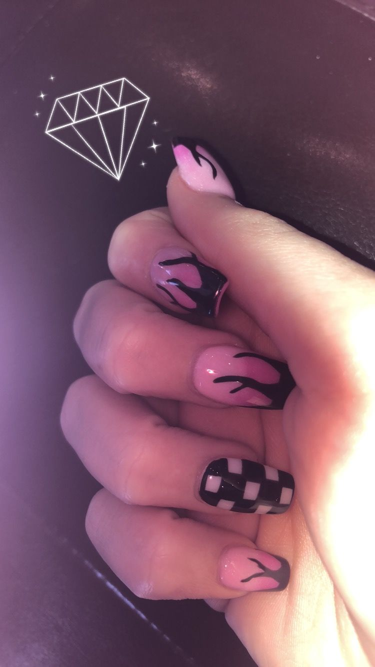 Off The Wall Claws Nailsart Vans Matte Checkered Flame Cherries Claws Nails Acrylicnailsideas Checkered Nails Fire Nails Pretty Acrylic Nails