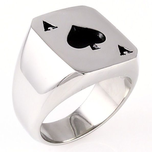 Amarillo: Mens Biker Stainless Steel Ace of Spades Lucky