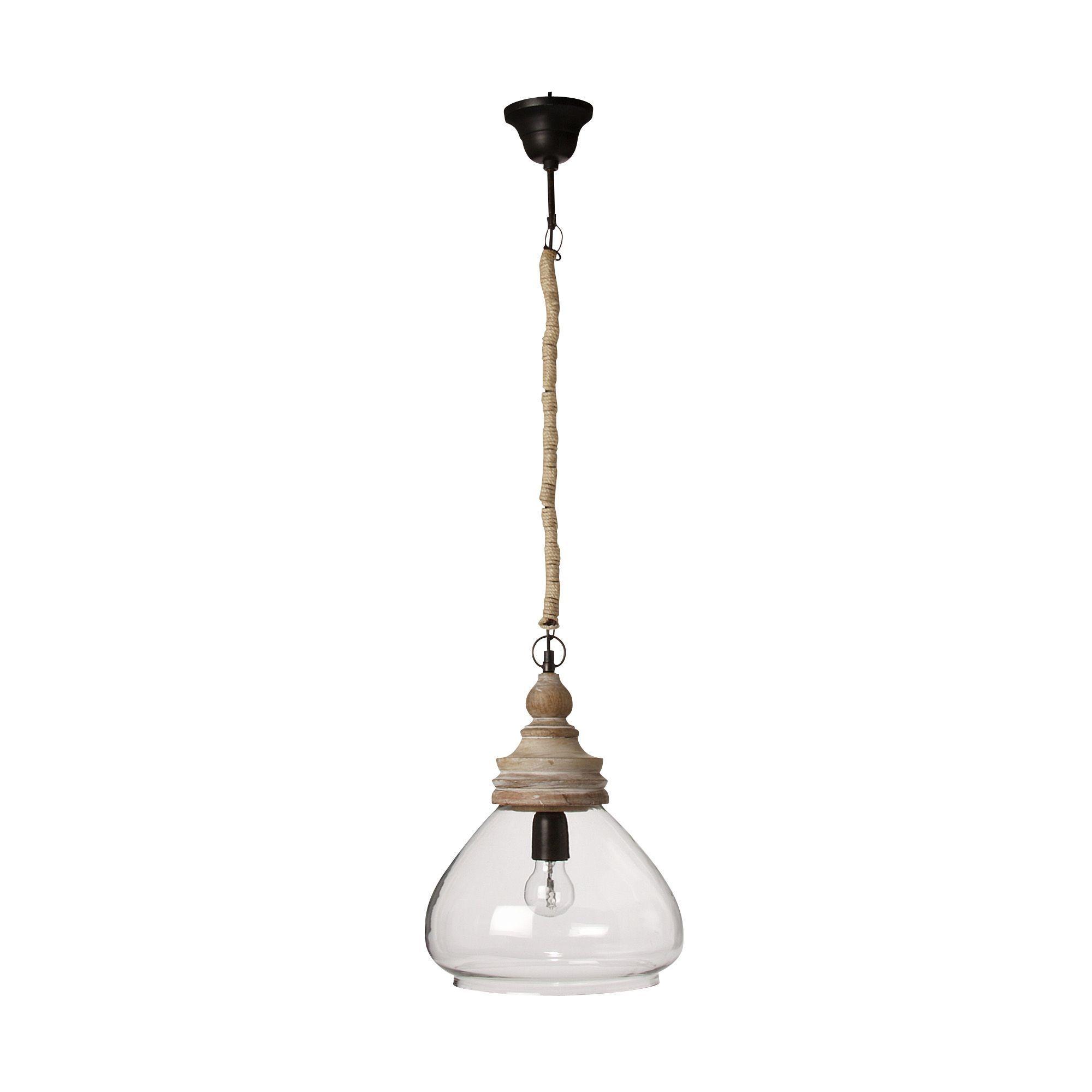 Suspension 1 lumière BOIS/VERRE D28cm Blanc - Tsahuni - Les ...
