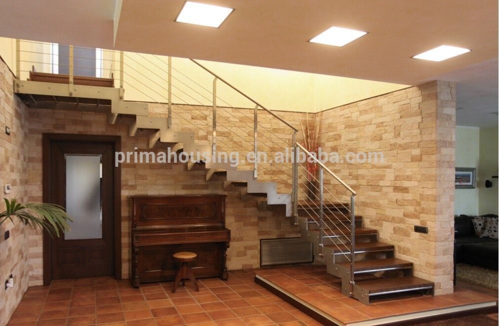 Best Modern L Shape Stair With Stainless Steel Railing Design 400 x 300