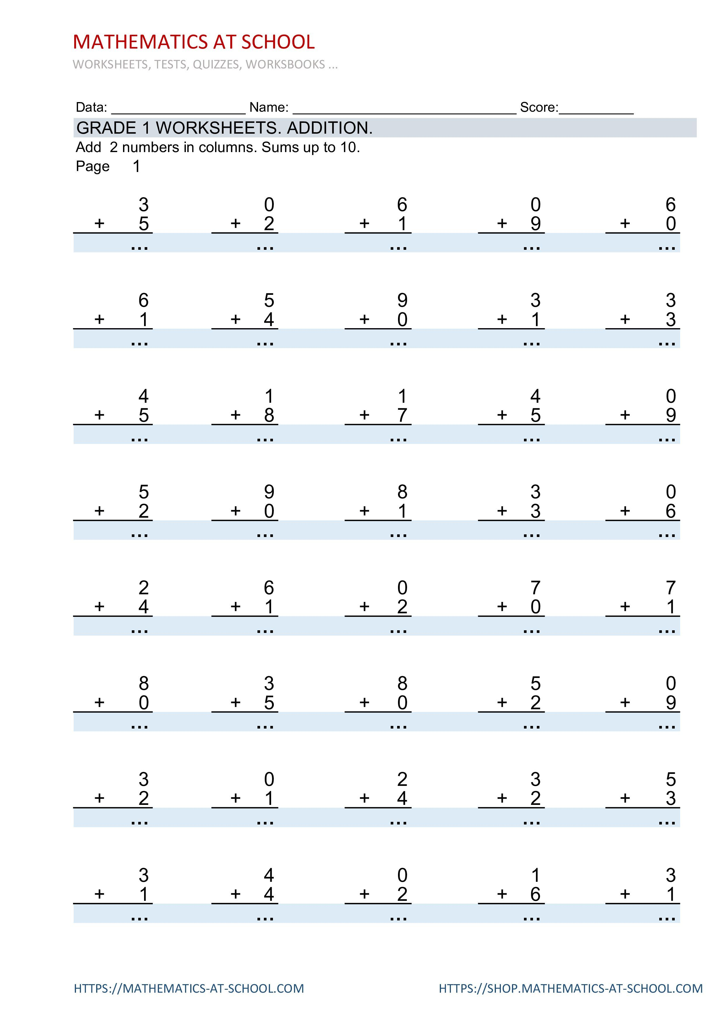Grate 1 Worksheets Addition In Columns Add Two Numbers In