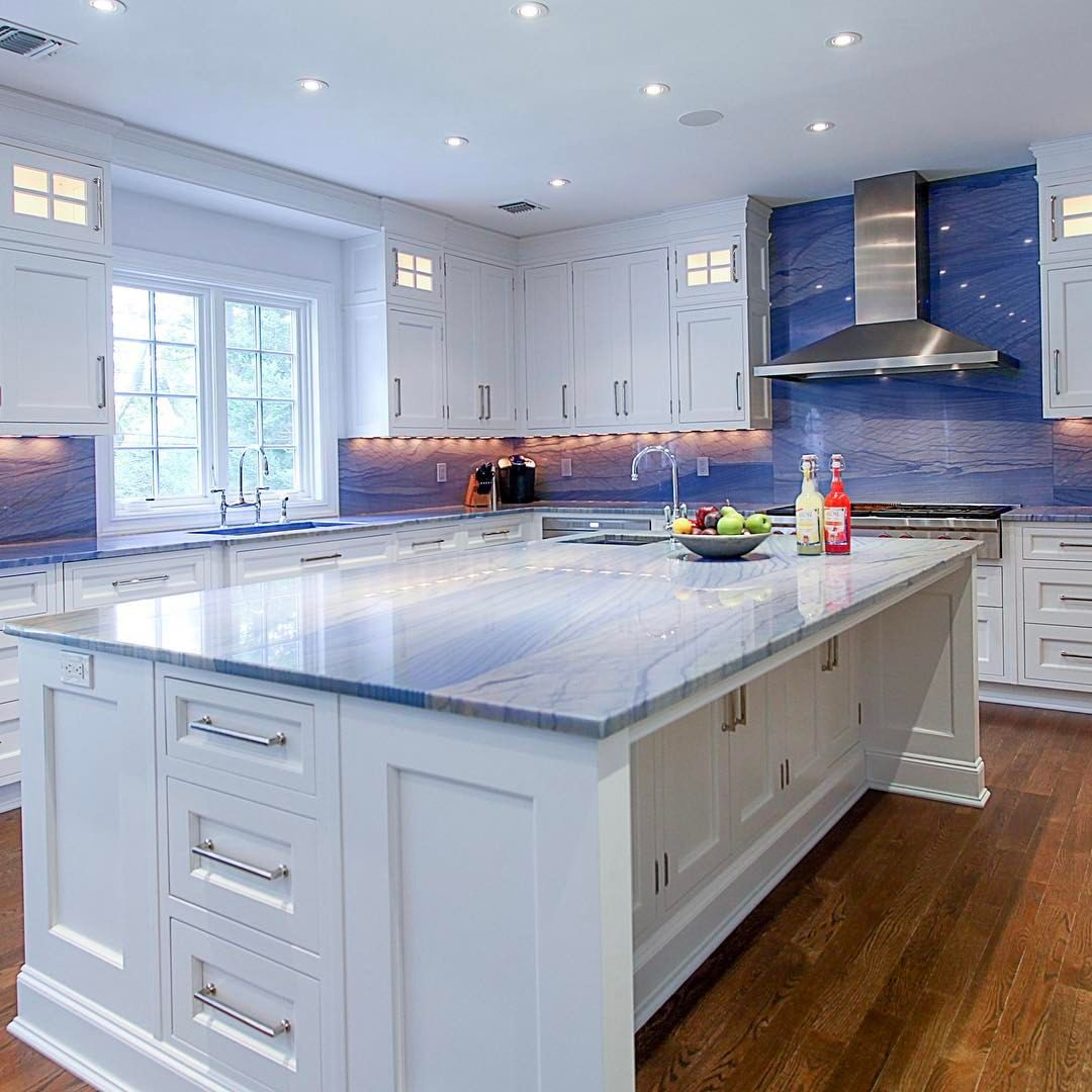 Light bright kitchen with blue macauba stone counters. | Kitchen ...