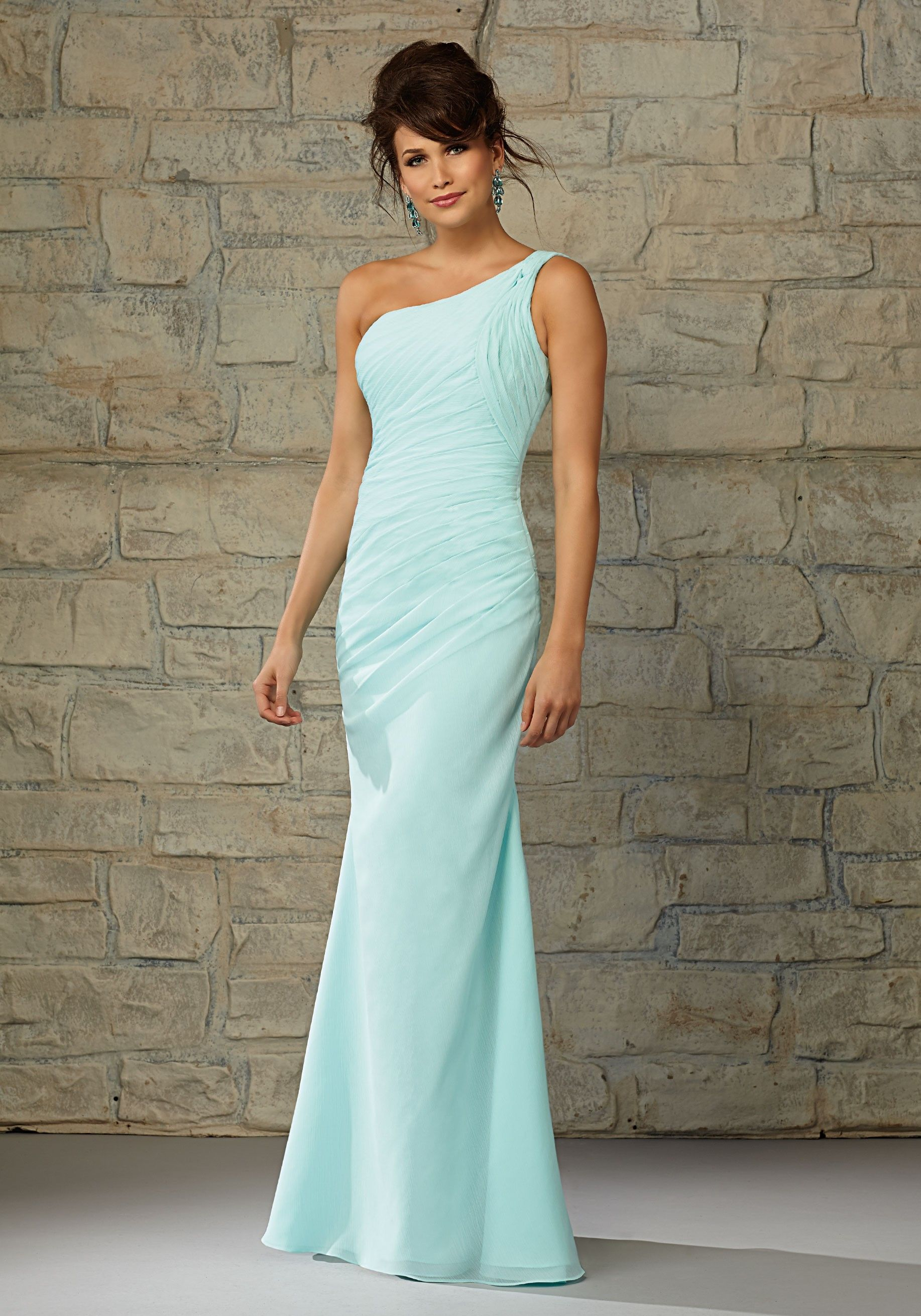 Full length luxe chiffon one shoulder morilee bridesmaid dress