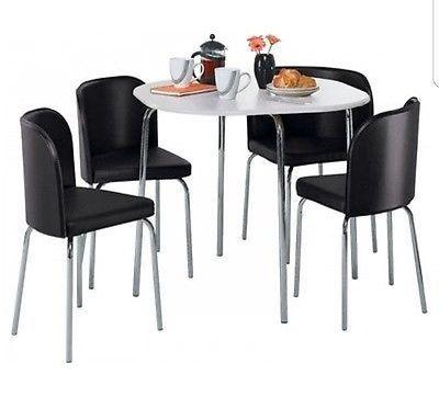 Hygena Amparo White Dining Table & 4 Black Chairs *Space Saving ...