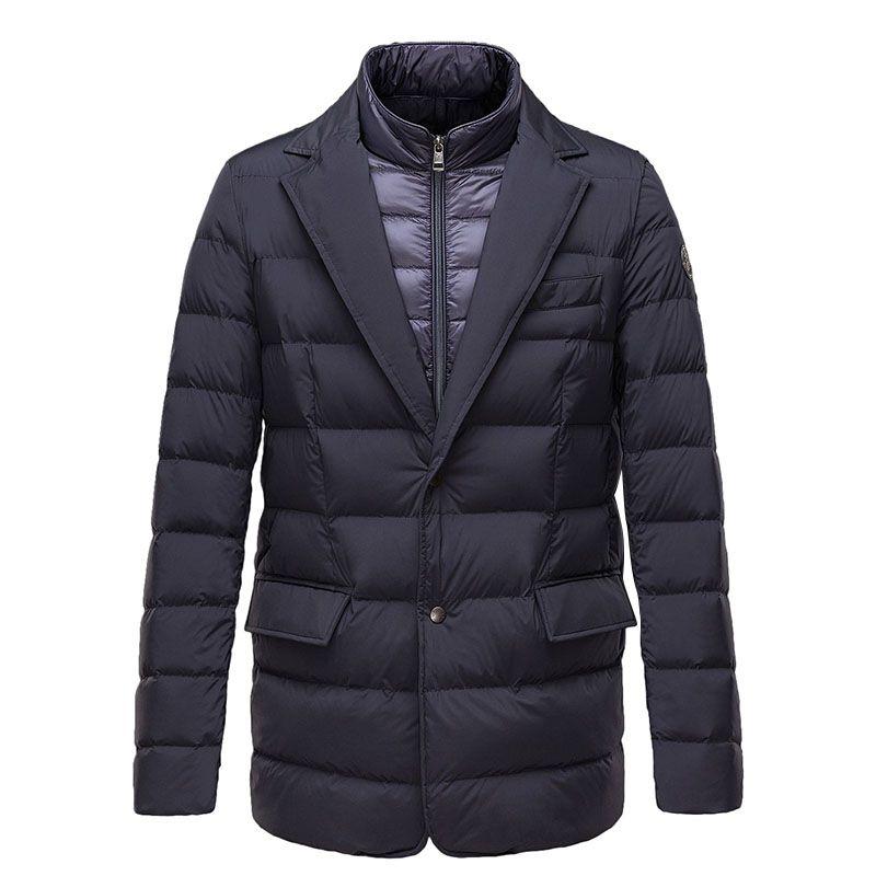 Men Moncler Dark Blue Ferrand Lightweight Two-Layer Quilted Sport ... : mens quilted sport coat - Adamdwight.com