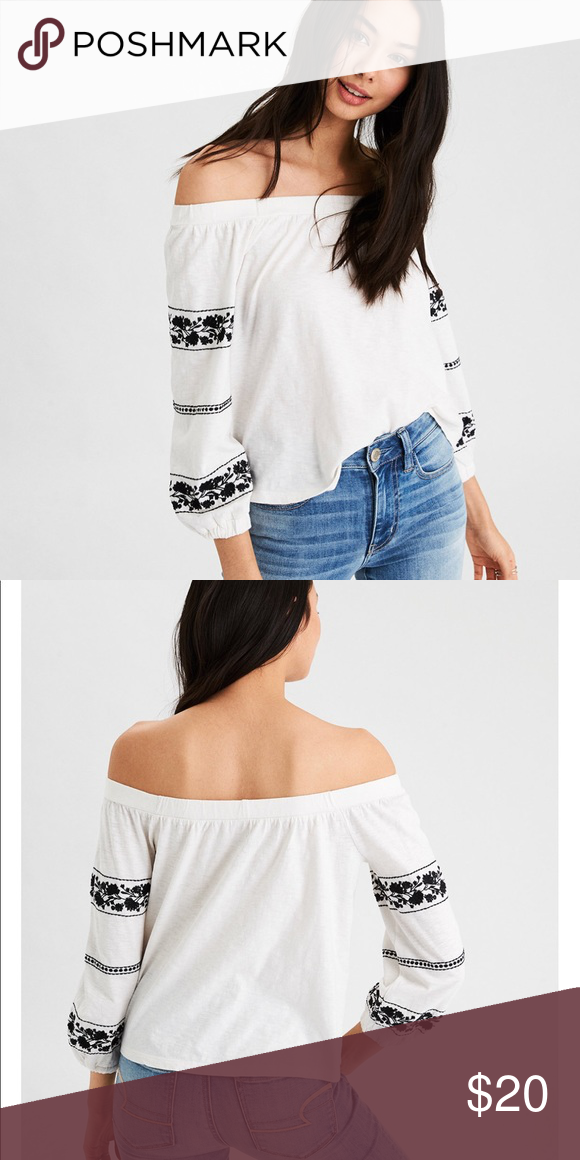 a983f8eb053f Off the Shoulder Cotton Top Only worn once, off the shoulder off white top  with black flowers American Eagle Outfitters Tops Tees - Long Sleeve