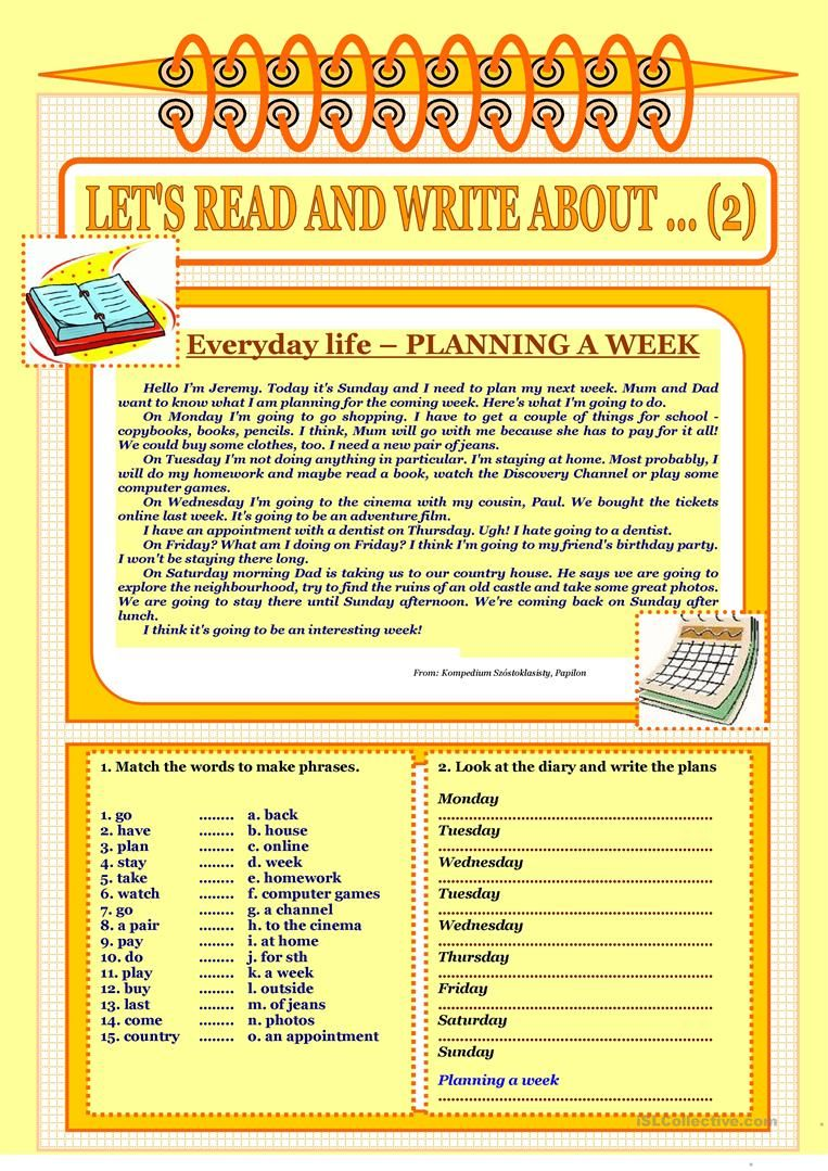 Let S Read And Write About 2 Everyday Life Planning A Week Worksheet Free Esl Printable Worksheets Made By Teachers Reading Writing Reading Writing [ 1079 x 763 Pixel ]