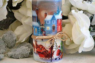 Svietidlá a sviečky - Vianočná vintage sviečka - 5971601_