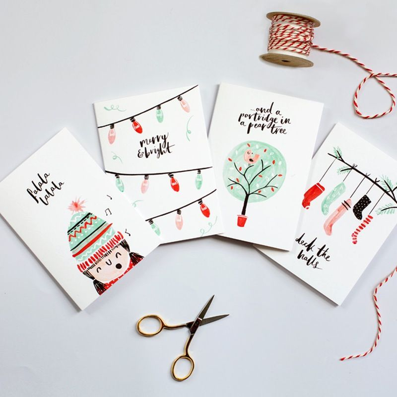 22 Gorgeous Hand Painted Holiday Cards With Images Christmas