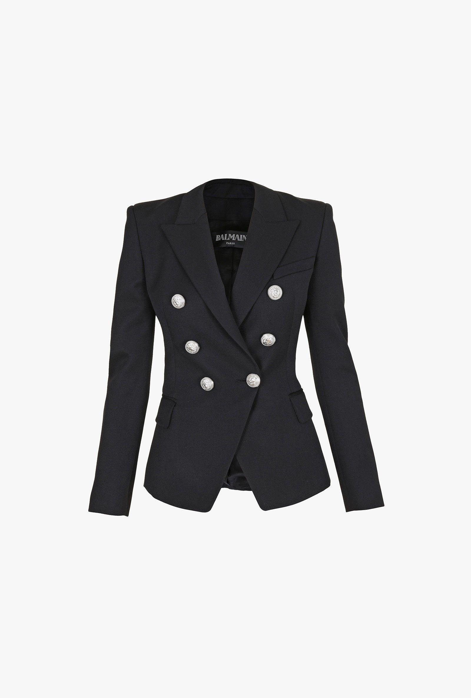 Double-breasted grain de poudre wool blazer | Women's blazers | Balmain