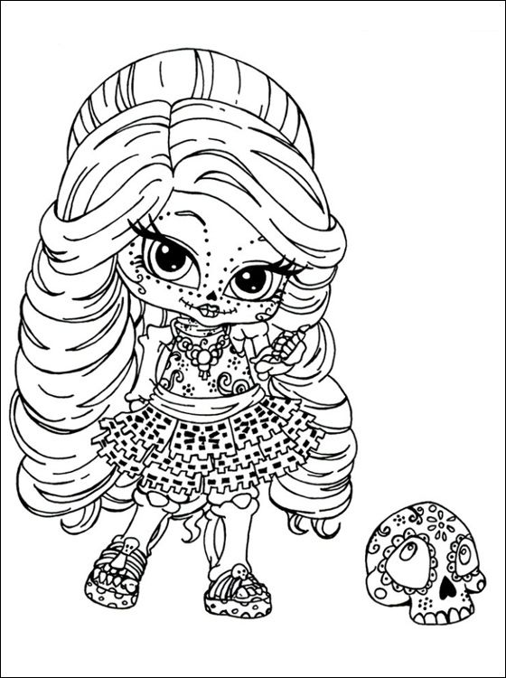 skelita calaveras monster high doll coloring pages