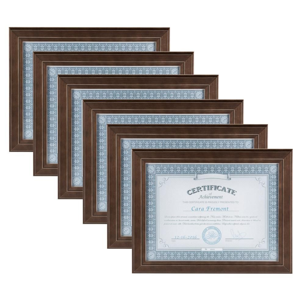 Designovation Kieva 8 5 In X 11 In Brown Picture Frame Set Of 6 Brown Picture Frames Picture Frame Sets Blue Picture Frames