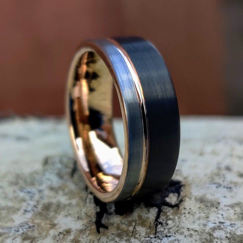 Black Silver Rose Gold Tungsten Ring Mens Ring Mens Wedding Band Rose Gold Accent Mens Engagement Ring Modern Minimalist Ring Anvil In 2020 Moissanite Engagement Ring White Gold Engagement Rings For