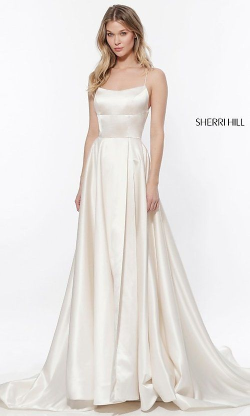 Long OpenBack Sherri Hill Prom Dress - White dress party, Sherri hill wedding dresses, Dress party night, Sherri hill prom dresses, A line prom dresses, Cocktail bridesmaid dresses - Openback long Sherri Hill prom dress with pockets, side slit, and corset back
