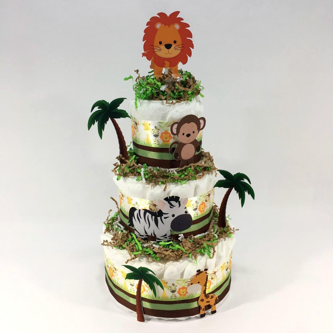 Baby Safari Diaper Cake Centerpiece Safari Diaper Cakes Baby