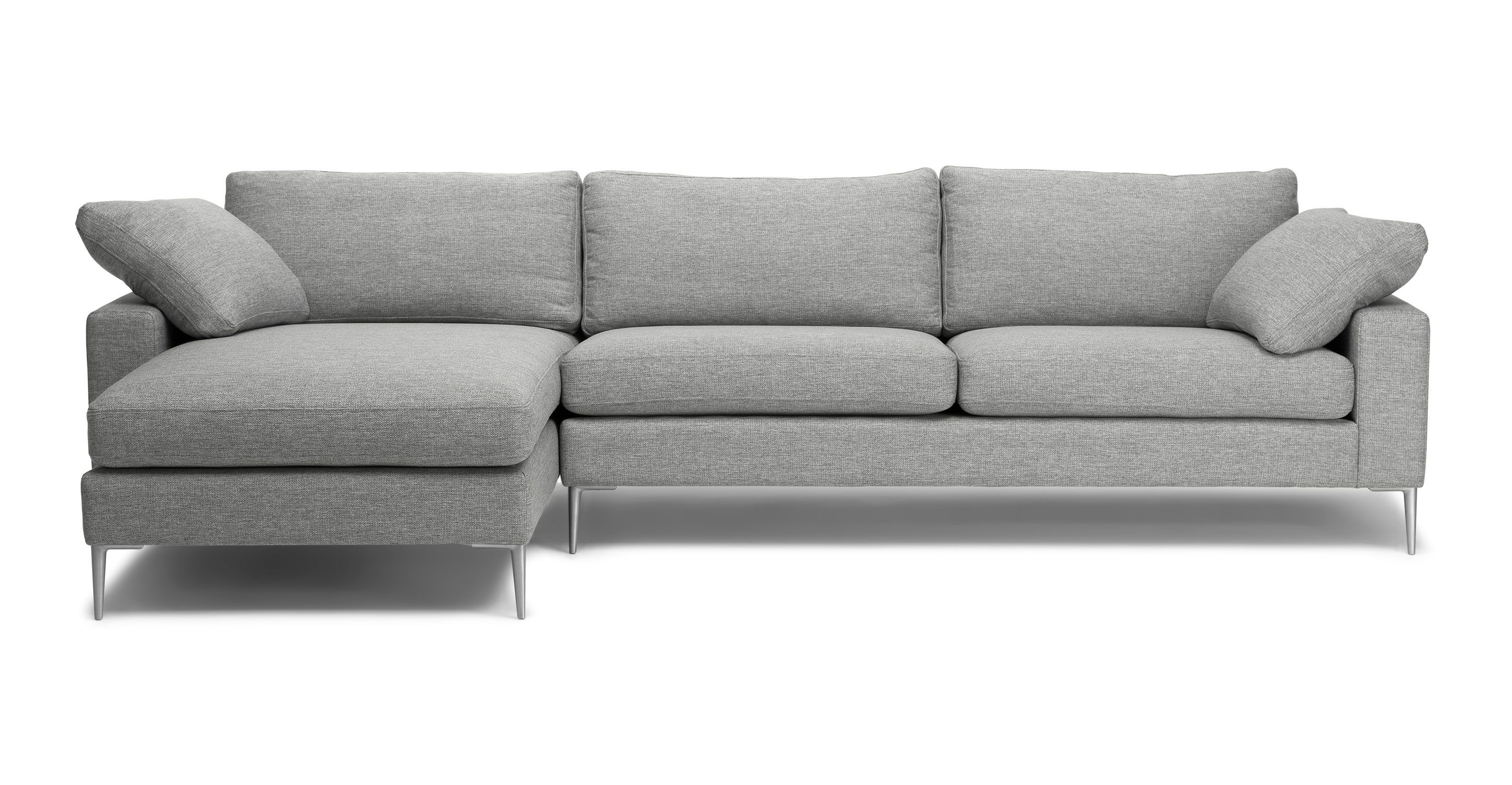 Light Gray Right Sectional Sofa Metal Legs Article Nova Bedroom