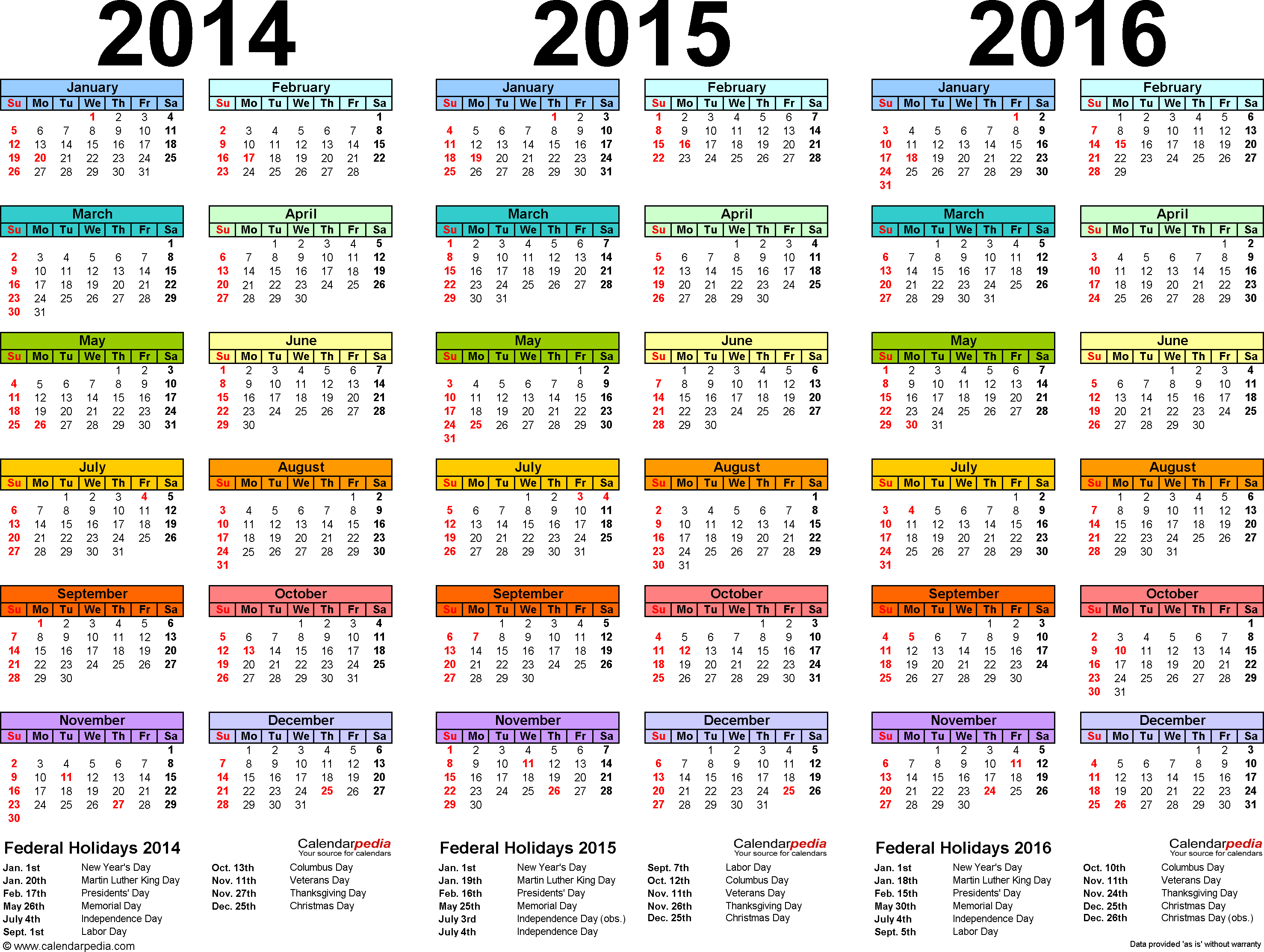 one page calendars 2018
