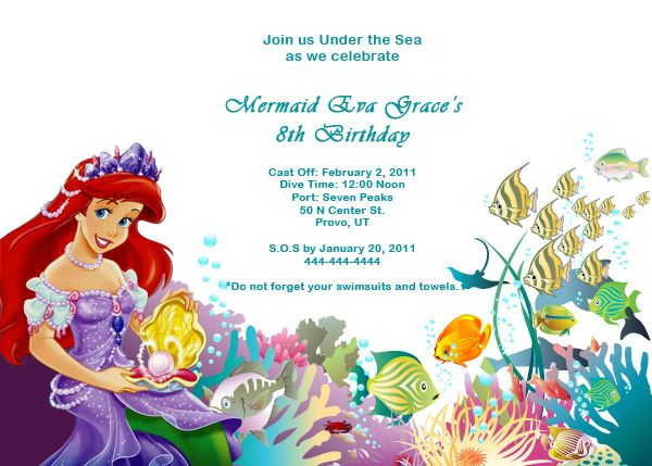 Ariel Disney Little Mermaid Free Birthday Invitation Free Download