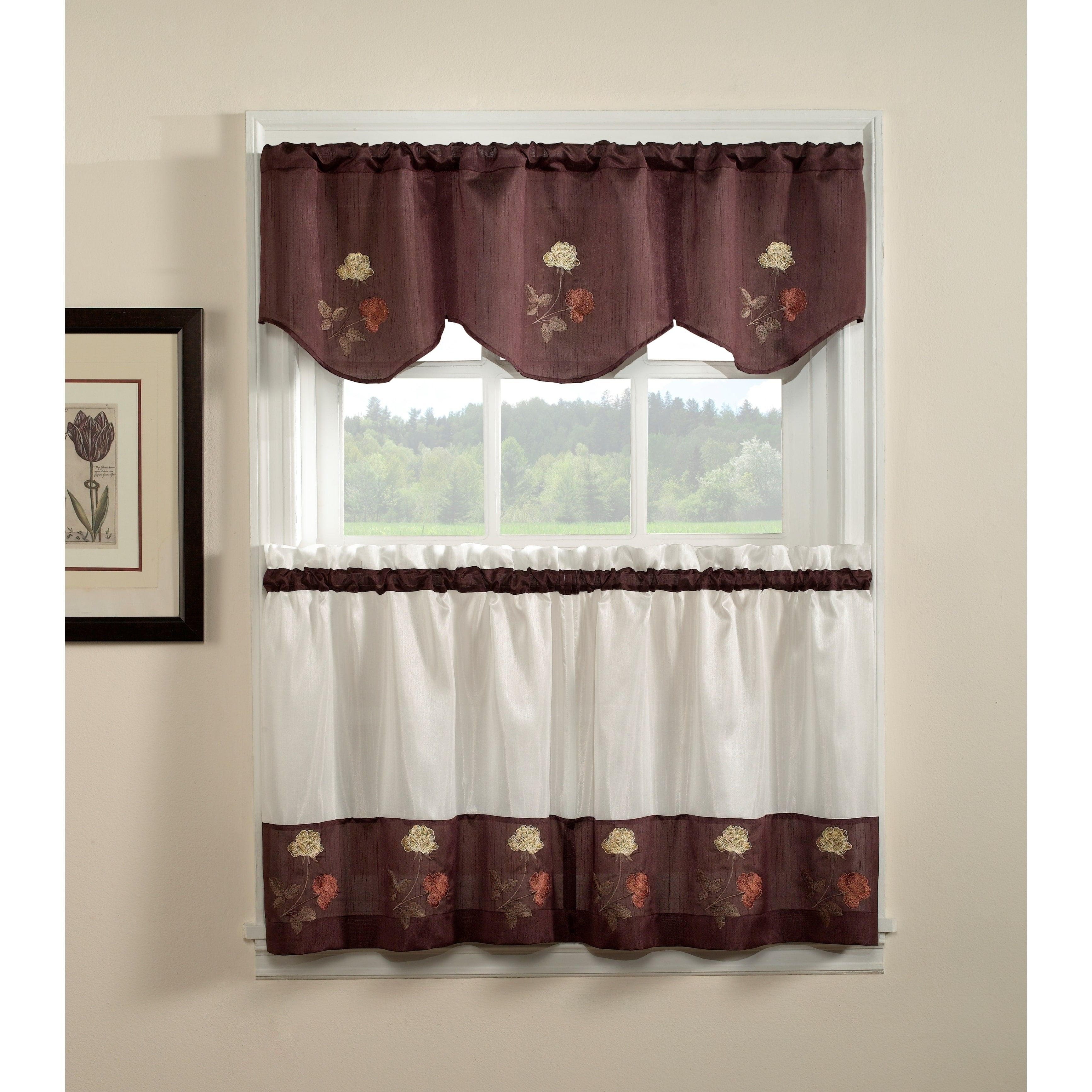 Rose 3 Piece Curtain Tier And Valance Set Products Curtains