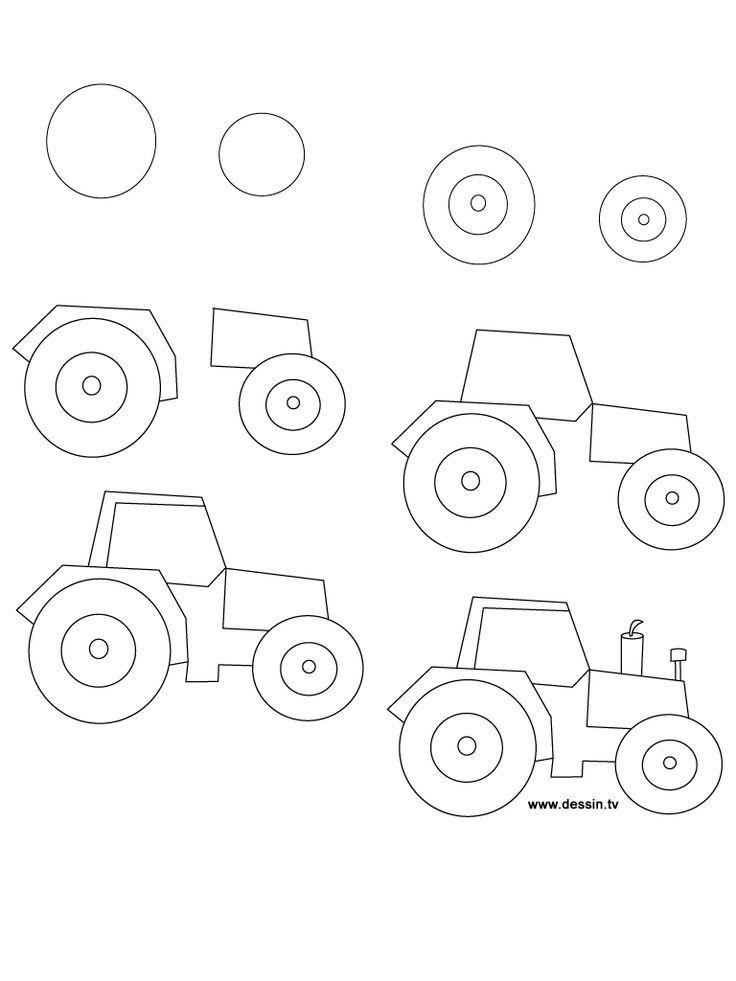 Comment dessiner un tracteur, étape par étape. (art