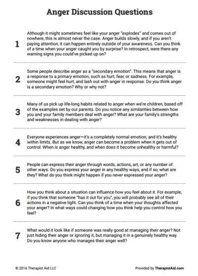 Worksheet Anger Management