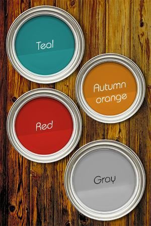 Teal Wall Red Drums Gray Sofa Autumn Orange