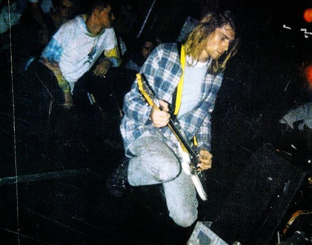 """October 29, 1989 - Birmingham, UK Nirvana performs at Edward's No. 8.  The show was originally supposed to be at the Barrel Organ. Krist sang parts of """"Mr. Moustache"""" and """"Blew,"""" due to Kurt's guitar troubles. The band stopped playing """"Stain"""" after about 40 seconds due to equipment problems. #nirvana #kurtcobain #kristnovoselic #chadchanning #1989"""