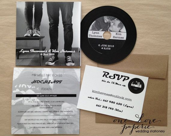 Custom CD record style Wedding Invitation by OneLovePaperie