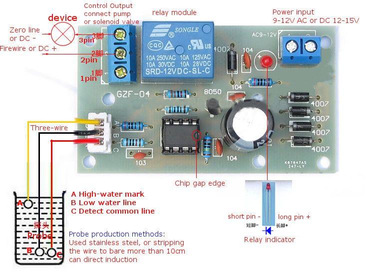 Diy Water Level Switch Sensor Controller Kit Water Level Switch Sensor Electronic Circuit Projects