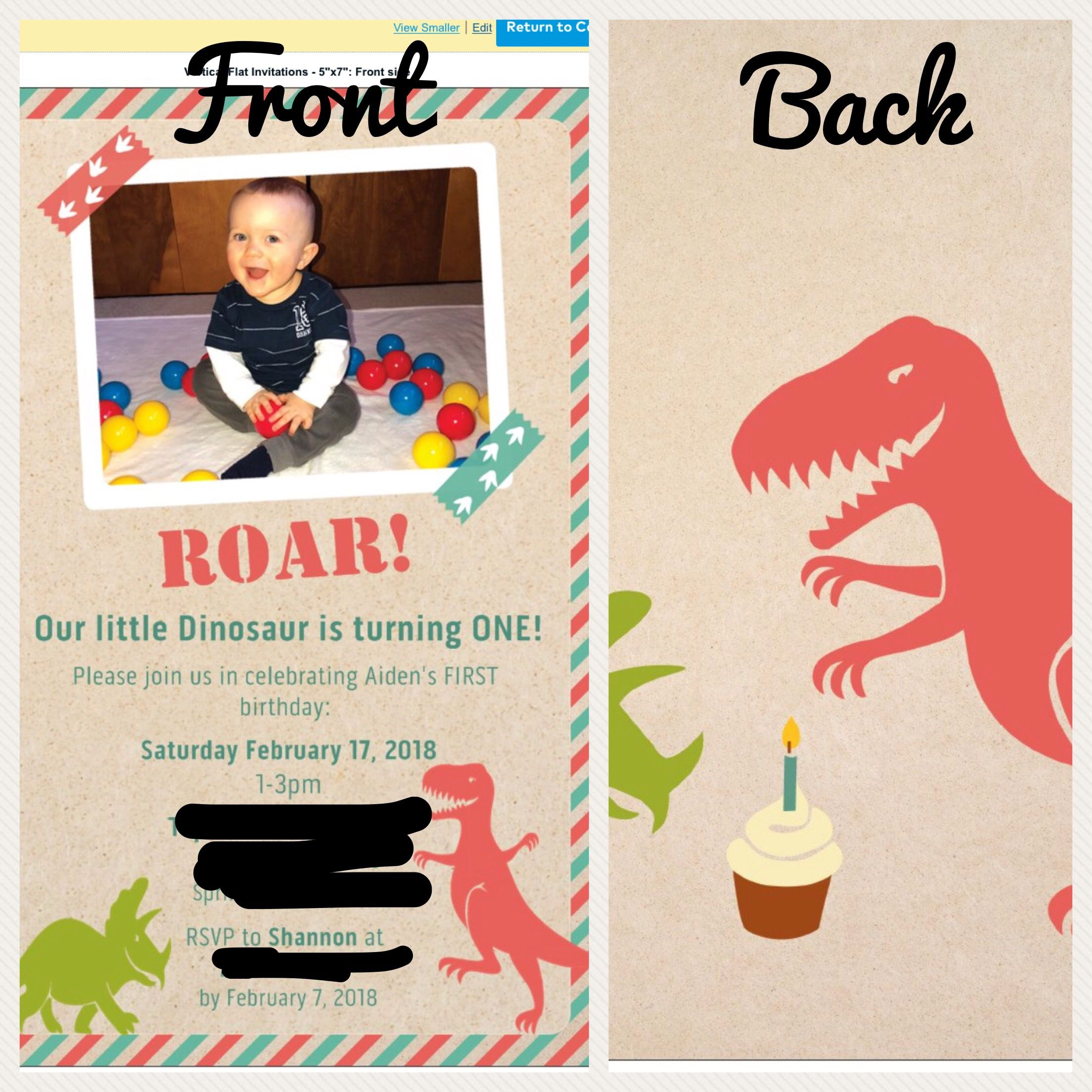 Dinosaur First Birthday Invitation Vistaprint