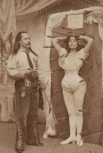 Untitled (knife thrower Signor Arcaris \ sister Miss Rose Arcaris - photographer job description