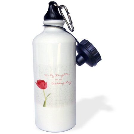 3dRose For My Daughter on Her Wedding Day - Red Tulip, Sports Water Bottle, 21oz, White