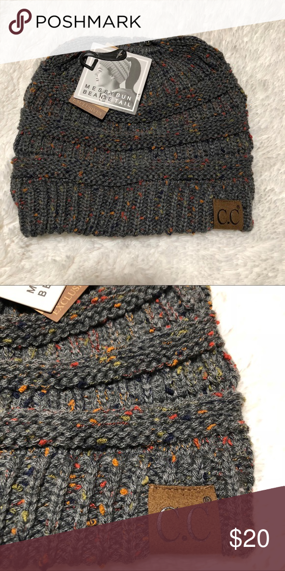 16f1f16bc2a03 C.C. Confetti messy bun beanie - Dark melange grey NWT CC beanie  Accessories Hats