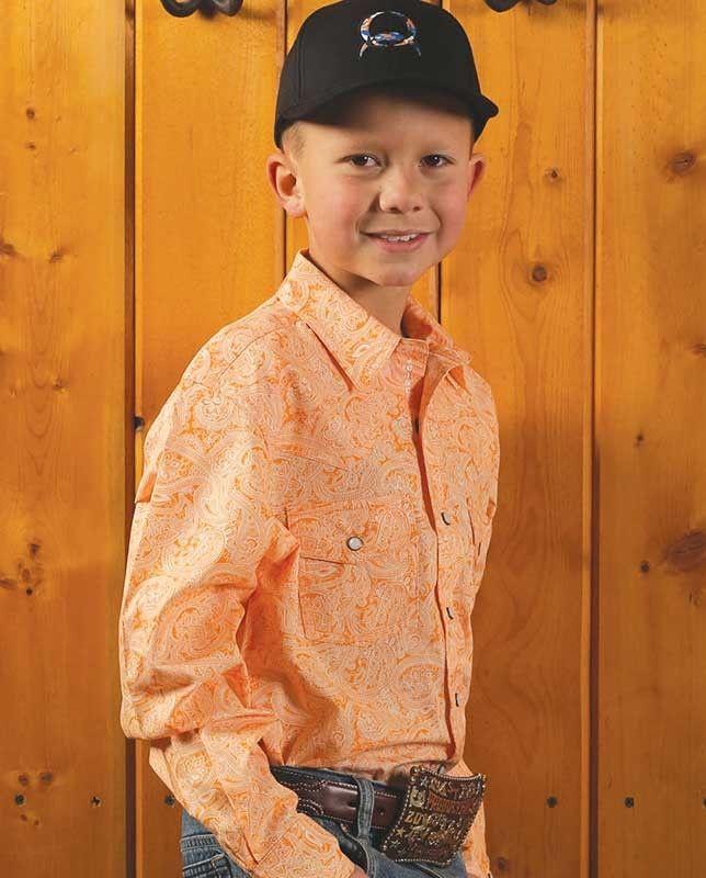 e5483e82c Cinch Boys Orange Long Sleeve Paisley Shirt #paisley #Boys #DressShirt
