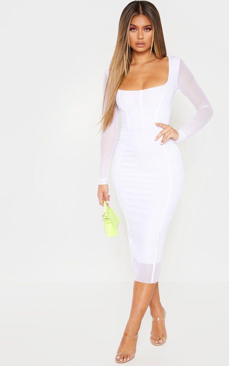 White Mesh Binding Detail Long Sleeve Midi Dress Long Sleeve Midi Dress White Long Sleeve Dress Formal Dresses With Sleeves [ 1180 x 740 Pixel ]