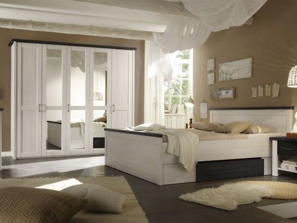 schlafzimmer mit bett 180 x 200 cm pinie weiss trffel woody - Schlafzimmer Set Modern