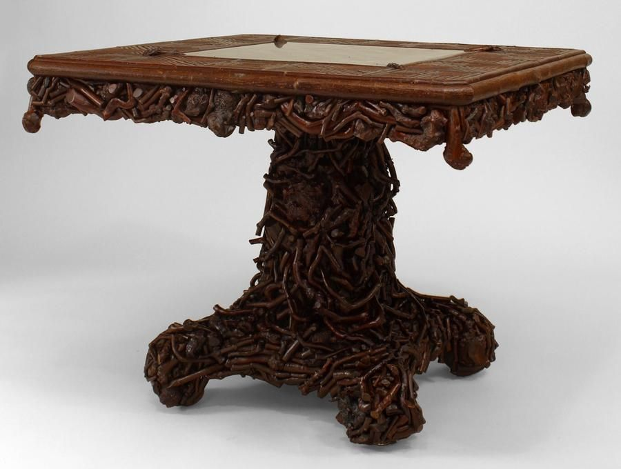 American Rustic Adirondack (19th Cent) Square Game Table With Slat Twig And  Root Design
