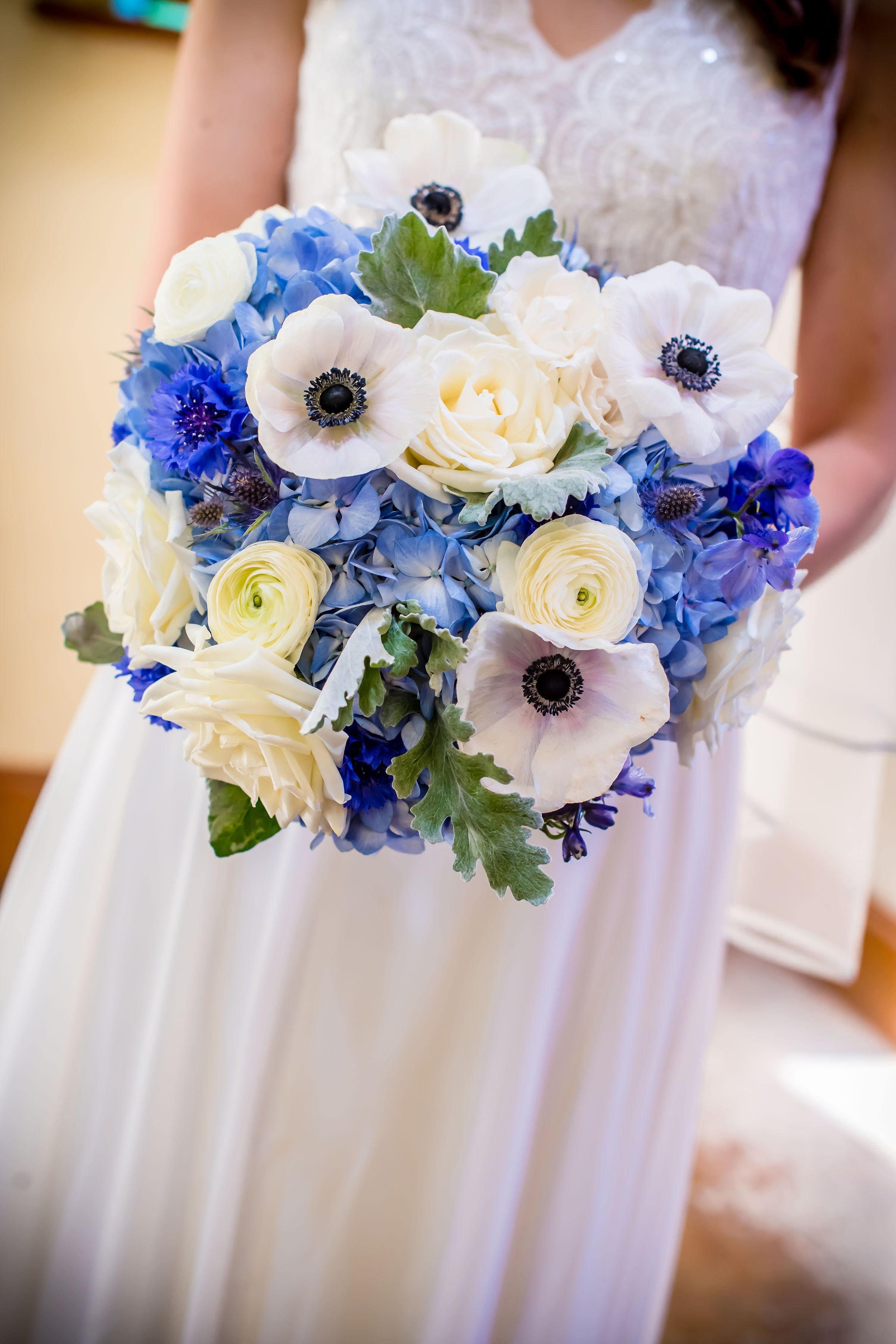 White Anemones Blue Bouquet Blue Centerpiece Navy Wedding Diy Wedding Flower Moxie Diy Wedding Bouquet Hydrangea Bouquet Wedding Wedding Flowers Hydrangea