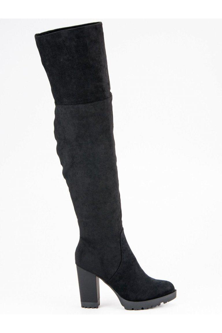 7757042e52e7 Čierne čižmy nad koleno s hrubým opätkom Super Mode
