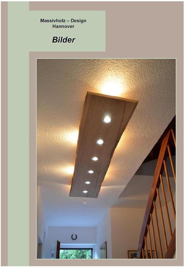 Deckenlampen  Massiv Holz Design Decken Lampe  ein